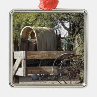 Covered Wagon Silver-Colored Square Decoration