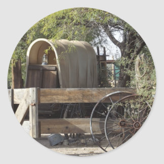 Covered Wagon Round Sticker