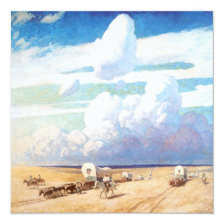 Covered Wagons by Wyeth, Vintage Western Cowboys 5.25x5.25 Square Paper Invitation Card