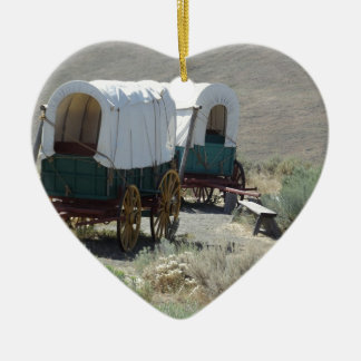 Covered Wagons Ceramic Heart Decoration