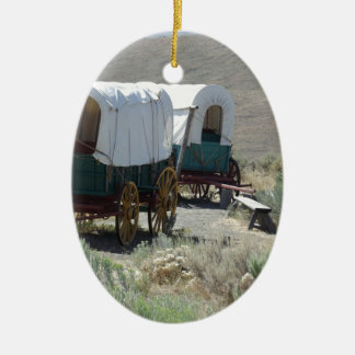 Covered Wagons Double-Sided Oval Ceramic Christmas Ornament