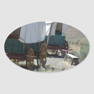 Covered Wagons Oval Sticker