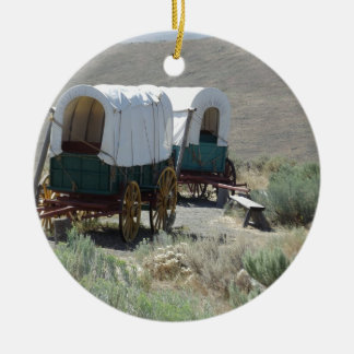 Covered Wagons Round Ceramic Decoration