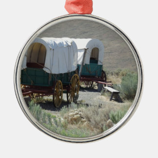Covered Wagons Silver-Colored Round Decoration