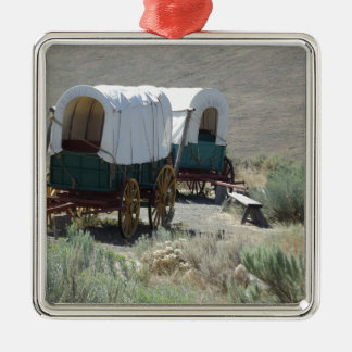 Covered Wagons Silver-Colored Square Decoration