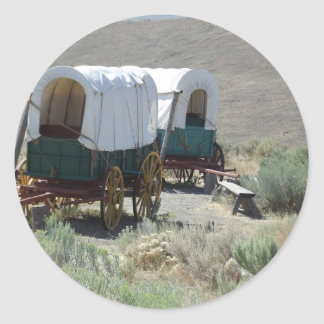 Covered Wagons Round Sticker