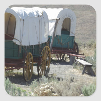 Covered Wagons Square Sticker