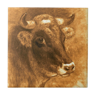 Cow 1880 ceramic tile
