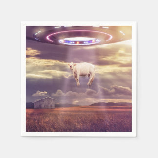 Cow Abducted by Aliens Fantasy Art Paper Napkin