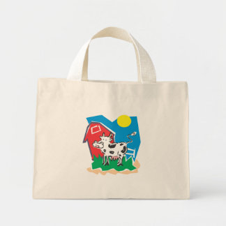 cow and barn mini tote bag