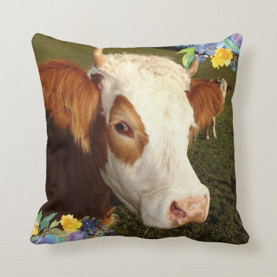 Cow and Blue and Yellow Flowers Cushion