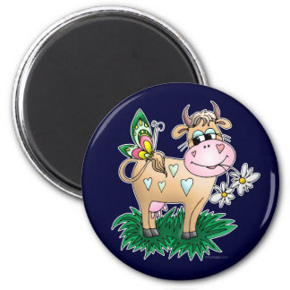 Cow and Butterfly 6 Cm Round Magnet