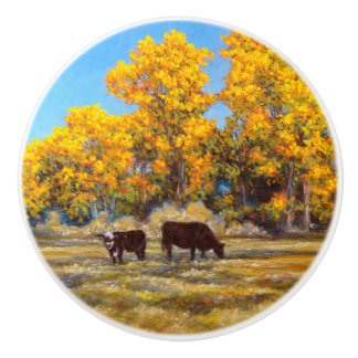 Cow and Calf in Golden Fall Trees Ceramic Knob