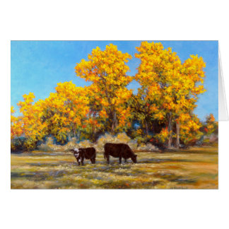 Cow and Calf in Golden Fall Trees Greeting Cards