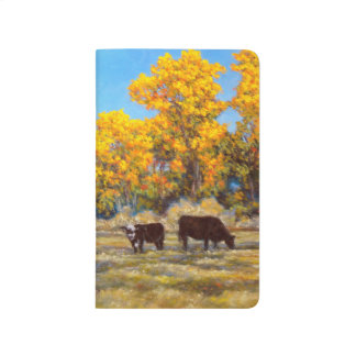 Cow and Calf in Golden Fall Trees Pocket Journal