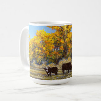 Cow and Calf in Golden Yellow Fall Trees Mug