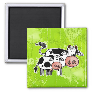 cow and calf square magnet