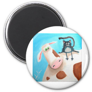 COW AND CAT 6 CM ROUND MAGNET