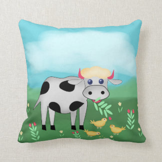Cow and chicks cushion