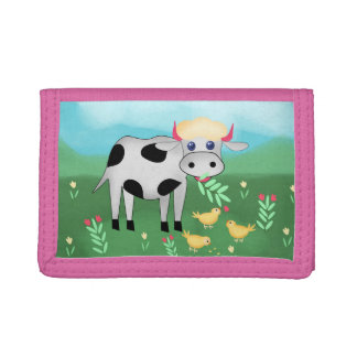 Cow and chicks tri-fold wallet