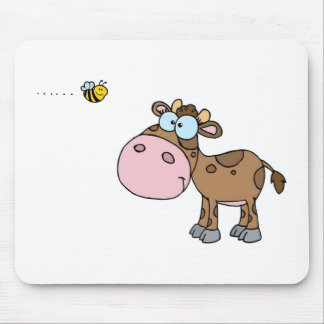 Cow and little Bee Mouse Pad