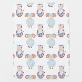 Cow and Sheep Pattern Baby Blanket