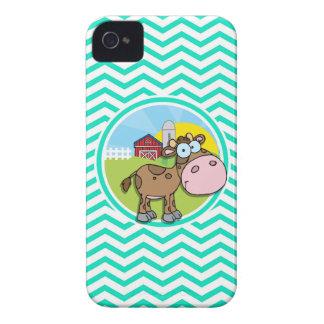 Cow Aqua Green Chevron iPhone 4 Case-Mate Case