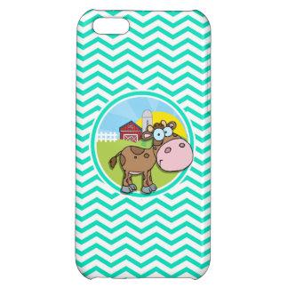Cow Aqua Green Chevron iPhone 5C Cases