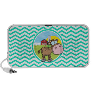 Cow Aqua Green Chevron Notebook Speakers