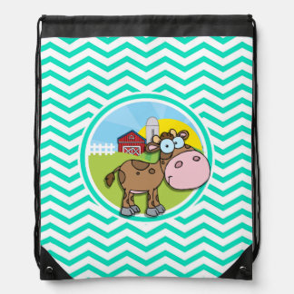 Cow Aqua Green Chevron Cinch Bag