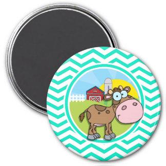 Cow; Aqua Green Chevron Refrigerator Magnets