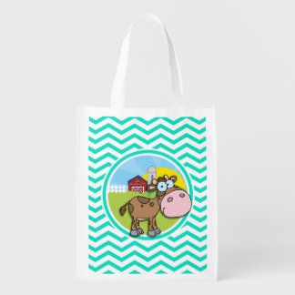 Cow Aqua Green Chevron Market Totes