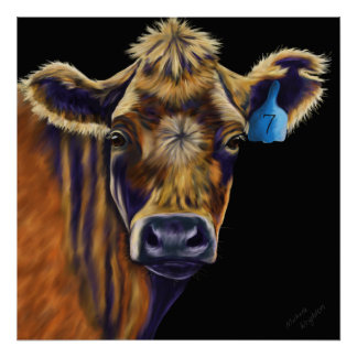 Cow Art - Lucky Number Seven Poster