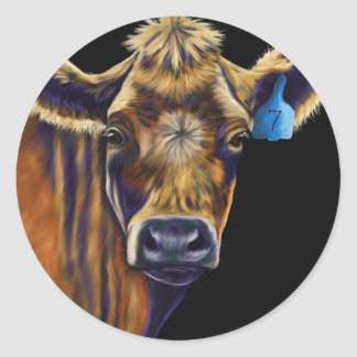 Cow Art - Lucky Number Seven Round Sticker
