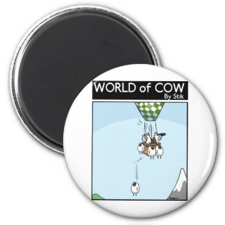 Cow Ballooning 6 Cm Round Magnet