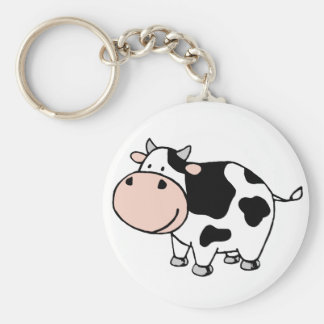 Cow Basic Round Button Key Ring