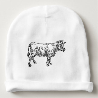 Cow Beef Food Grunge Style Hand Drawn Icon Baby Beanie