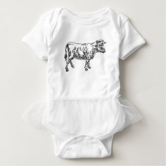 Cow Beef Food Grunge Style Hand Drawn Icon Baby Bodysuit