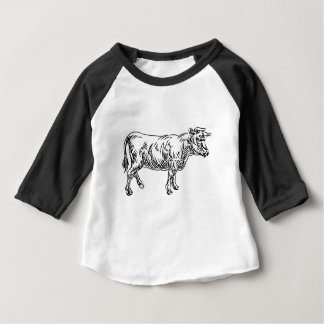 Cow Beef Food Grunge Style Hand Drawn Icon Baby T-Shirt