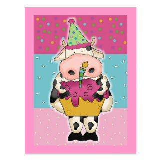 Cow Birthday Cards and Postage Postcard