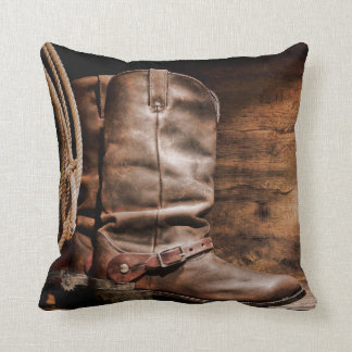Cow Boy Boots Spur Country Rope Throw Couch Pillow