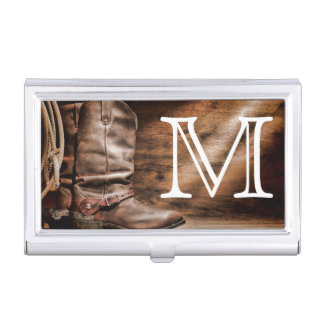 Cow Boy Boots Spur Monogram Business Card Hold