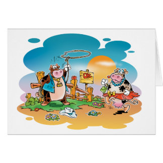 Cow-boys and Cow-girls Greeting Card