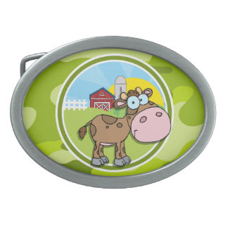 Cow; bright green camo, camouflage belt buckle