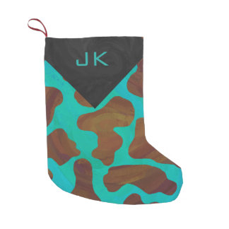Cow Brown and Teal Print Small Christmas Stocking