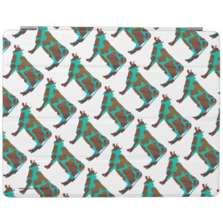 Cow Brown and Teal Silhouette iPad Cover