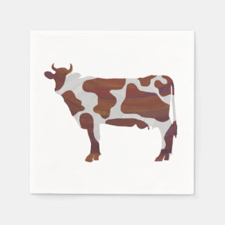 Cow Brown and White Silhouette Paper Napkins