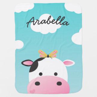 Cow & Butterfly BFFs Custom Name Pramblanket