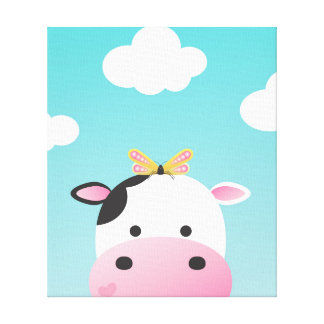 Cow & Butterfly BFFs Nursery Canvas Print