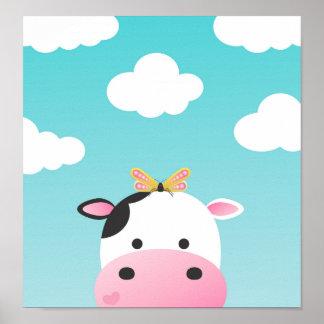 Cow & Butterfly BFFs Nursery Poster